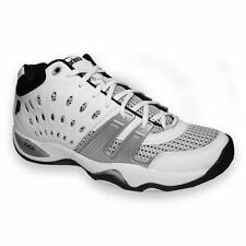Prince Men's T22 White/Black/Silver Synthetic Leather/Mesh Mid-cut Tennis Shoe