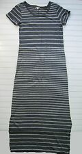 Gap Used Upick Knit Maxi Dress Navy Gray Striped