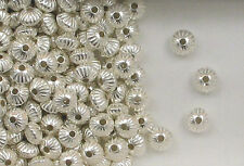 925 Sterling Silver 7mm Corrugated Rondelle Beads, Choice of Lot Size