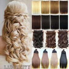 Long Women One Piece Clip in Hair Extensions Brown Blonde Hairpiece As Human f2x