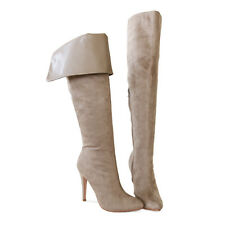 Chic Sexy Stiletto Heel  Cuff Down or Suede Thigh Over The Knee High Boots Clay