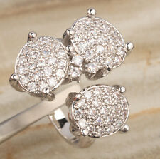 Adjustable size White Topaz Gemstones Silver Party Rings US# Size 6 7 8 9 T0888