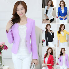 2016 Womens Basic Business Blazer Jacket Suit Work Casual Long Sleeve One Button