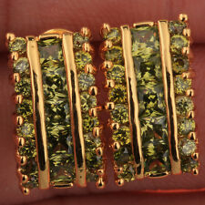 Hot Green & Olive Peridot Jewelry Gemstones 18k Gold Filled Studs Earrings T0865