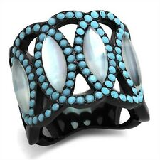 Women's Black Stainless Steel Conch Turquoise Wide Band Fashion Ring Size 6-9