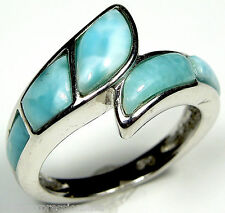 Rare AAA Genuine Larimar Inlay 925 Sterling Silver Band Ring Size 9