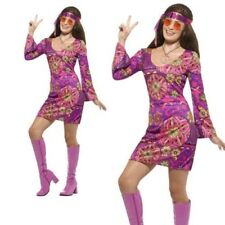 Woodstock Hippie Chick Costume Ladies Hippy Fancy Dress Outfit XS-XL