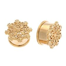 Brass Gold XMAS Snowflake Flesh Hollw Ear Tunnels Plugs Flared Earlet Expanders