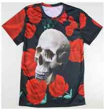 Floral skull men short sleeve casual t shirt