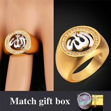 Allah Ring For Men / Women Jewelry Platinum 18K Real Gold Plated Zirconia Ring