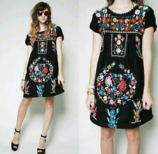 Assorted black Above Knee Embroidered Mexican Hippie Mini Half Boho Dress