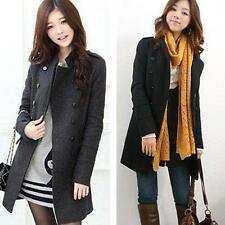 Women Top Fall Winter Jacket Long Double-Breasted Wool Blend Trench Coat Parka