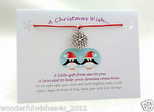 Christmas Wish Bracelet Charm Gift/Card, Stocking Filler, Friend Auntie Sister