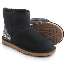 UGG AUSTRALIA MINI LIBERTY BOOTS (SIZES 8, 9) UGGS SUEDE SHEARLING BLACK FLORAL