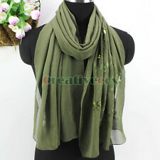 New Fashion Women's Embroidery Vines Floral With Sequins Long Chiffon Silk Scarf