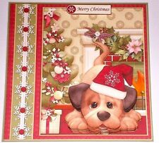 Handmade Greeting Card 3D Christmas With A Dog In A Santa Hat