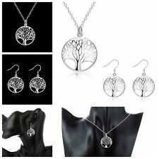 Xmas Gifts Fashion Jewelry Life Tree Pendant Silver Plated Necklace Earring Set