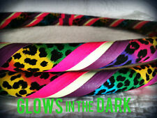 Rainbow Leopard GLOW in the Dark Dance & Exercise Hula Hoop COLLAPSIBLE pink