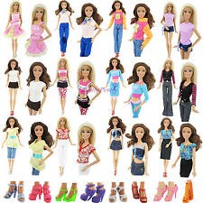 15 Pcs = 5 Outfits Blouse / Pants / Skirt 5 Shoes For Barbie Doll Random Clothes