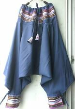 Harem Drop Low Hmong Thai Style Aladdin Hammer Baggy Yoga Pants Genie Cotton.