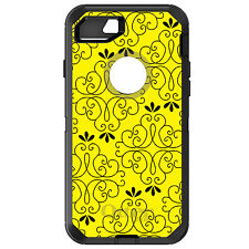 CUSTOM OtterBox Defender for iPhone 6 6S 7 PLUS Yellow Black Floral Pattern