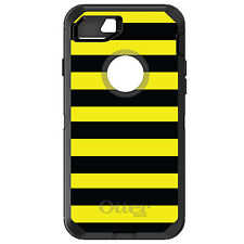 CUSTOM OtterBox Defender for iPhone 6 6S 7 PLUS Black & Yellow Bold Stripes