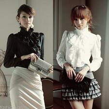 Womens Office Blouses Victorian Top Button Silky Lace Collar Ruffle Satin Shirts