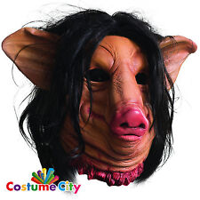Adults Official SAW Overhead Pig Face Mask Halloween Fancy Dress Accessory