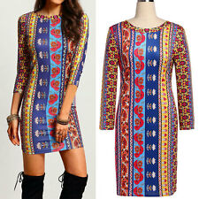 Vintage Celeb Ladies Bodycon Mini Dress Casual Office Cocktail Evening Party Top