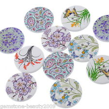 Wholesale HOT! Mixed Pattern 4 Holes Round Wood Painting Sewing Buttons 30mm