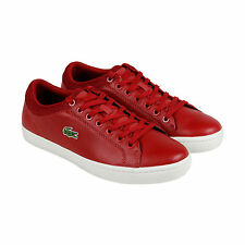 Lacoste Straightset Sport Mens Red Leather Lace Up Sneakers Shoes