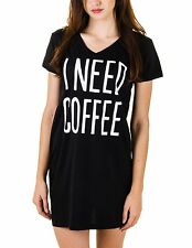 Caramel Cantina 'I Need Coffee' Sleepshirt Nightshirt V Neck Juniors Fit