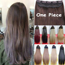 Real Natural Long Ombre Curly Straight Clip on Clip in Hair Extensions hairpiece