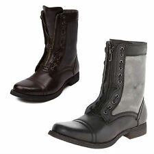 Steve Madden Mens Combat Boots Archer in Black and Brown Choose Your Size New