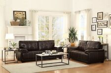 2Pc Transitional Living Room Set Dark Brown Sofa & Loveseat Furniture Couch Home