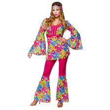 Ladies Feelin Groovy Costume for 60s Mods Rockers Hippy Fancy Dress Womens