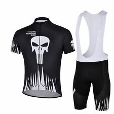 Men's Cycling Set Black Skeleton Bike Cycle Jersey and (Bib) Shorts Kit S-5XL