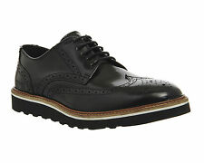 Mens Ask the Missus Coco Wedge Sole Brogues BLACK HI SHINE LEATHER Casual Shoes