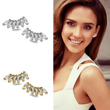 1Pair Fashion Women Elegant Crystal Rhinestone Ear Stud Silver Gold Earring New