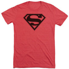 Superman Red & Black Shield Mens Tri-Blend Short Sleeve Shirt