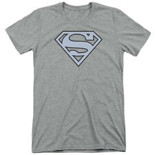Superman Carolina Blue&Navy Shield Mens Tri-Blend Short Sleeve Shirt