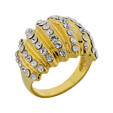 Gold Plated Silver Crystal Domed Cluster Jewelry Women Wedding Engagement Ring