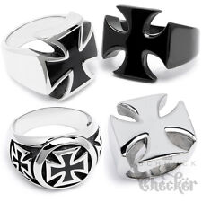 Solid Stainless Steel Biker Ring Iron Cross Men's Seal Ring silver black