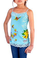 B25 Popular Ed Hardy Skulls Girls Tattoo Print Butterfly Singlet Top Size 10/12