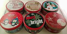 CHRISTMAS HOLIDAY ROUND COOKIE TINS Nesting Metal Gift Boxes SELECT: Size Design