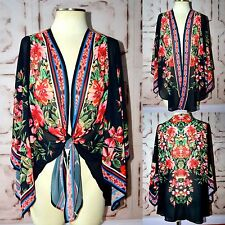 Flying Tomato QUEEN OF THE GYPSIES Boho Black Floral Woven Kimono Cardigan S-L
