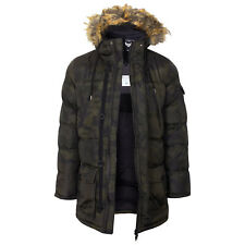 Mens Winter Coat by Brave Soul Camo Hooded Parka Fur Hood Jacket Padded S to XL