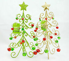 Jingle Bell Christmas Tree Decoration Green and Gold Glitter Holiday Decor New