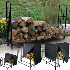 Sunnydaze Decorative Firewood Log Rack Black Strong Steel - Multiple Sizes