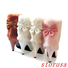 Stiletto Heel Women Lady Fur Trim Ankle Boots Shoes Snow Boots Platform Size New
